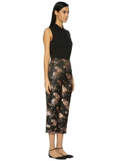 Glamorous Yüksek Bel Desenli Cropped Paça Pantolon Siyah